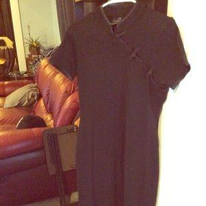 VTG Black Mandarin Collar Geisha style dress M